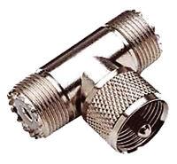 SO239 T PIECE 2 X FEMALE 1 X MALE ( PL259 ) Adaptor for CB & Amateur Ham Radio