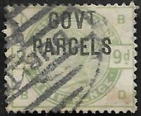 GB1884 QV SG O63 9d Dull Green Ovpt GOVT PARCELS Fine Used CV £1200