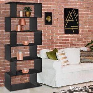 6 Tier Level Display Stand Book Shelf Bookcase Black Storage