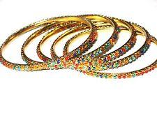 Exquisite 5 Piece Gold BANGLE BRACELETS Multi Color Beads  SIZE 8