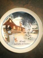 "Vintage AMERICAN GREETINGS  "" All Roads Lead Home At Christmas"" Plate  1986"