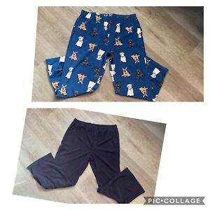 Croft&Barrow Mens Lot Of 2 Flannel Pajama Bottoms XL Lounge Dogs And Solid Black
