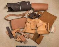 Vintage Lot of Remnant Leather for Leatherworking Used and Unused g25