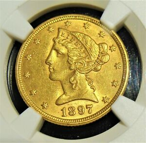 1897 gold $5 MS61 NGC.