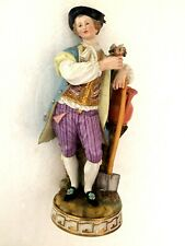 More details for meissen porcelain fine figure of a gardener holding a spade with flower in hand