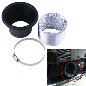 Car Bumper Turbo Air Intake Trim Kit Grille Mount Pipe Funnel Clamp Universal