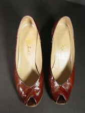Vintage Jack Rogers womens shoes eel skin peep toe kitten heel 6.5N 3172 Movie