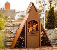 Kaminofen PYRAMIDENGRILL Terrassenofen Feuerstelle Gartenfeuer BBQ in Rost