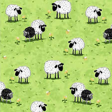 SHEEP ON THE GRASS FABRIC- ADORABLE- COTTON MACHINE WASH!- SEW CUTE!!