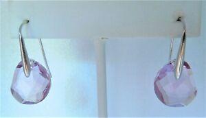 Signed Swarovski Earrings GALET Pink Rhodium Plated