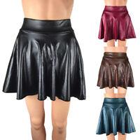 Women Girls High Waist Faux Leather PU Skater Flippy Flared A line Skirt Ladi JF