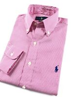 Ralph Lauren Shirt Men's Red Stripe Crisp Poplin Long Sleeve Classic Fit