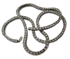 Silver Plated 1 Row of Rocks Faux Diamond Hiphop Bling Pharaoh Chain
