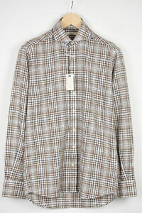 SUITSUPPLY COTTON LINEN Men 38/15 Extra Slim Fit Checked Formal Shirt 16975*