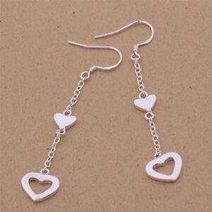 Twin Love Heart Earrings.Silver Plated Pair Of Drop Dangle  57mm Drop. Women's