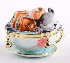 Faberge Mouse trinket box hand made by Keren Kopal with Austrian crystal