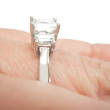 GIA Certified 3 Stone Princess Cut Diamond Engagement Ring 18k Gold