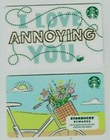 STARBUCKS Gift Card LOT of 2 -SPRING Flowers, Bike/ Love Annoying You - No Value