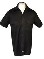 Dickies Men's Casual Shirt Black Small Cotton Blend S/S Bobble Vintage