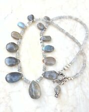 Labradorite Teardrops Blue Gold Flash Sterling Silver Beaded Necklace Sundance
