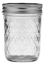 12 x Quilted 8oz (240ml) ball Mason Jam Jars and Lids BPA FREE.