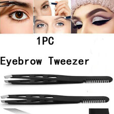 1Pcs Eyebrow Tweezers Clip Eyelash Comb  Slant Tip Hair Removal Eyebrow Tools
