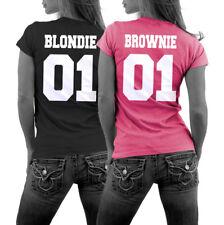 BLONDIE 01 BROWNIE 01 Pärchen T-Shirt Beste Freundin Sister Best Friends Couple