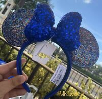 New Disney Parks New Year Minnie Ears 2020 Celebration Blue Sparkle Bow Headband