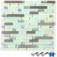 Glass Backsplash Tile 6 Sq Feet Interlocking Tile Mosaic Tile For Kitchen Decor