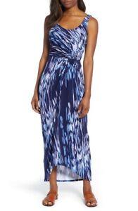 Tommy Bahama Under the Sea Twist Front Maxi Dress Island Navy Sz Small NWT $185