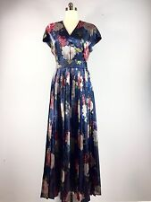 Andre Laug Couture Saks Blue Floral Silk Gown Dress Formal Mother 45 Bust XL