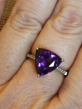 5ct Natural trillion cut Amethyst & diamond ring solid 9ct gold size N 7
