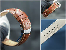 Genuine leather watch strap, band 20mm brown perforated deployment clasp