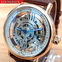 Mens Flywheel Automatic Mechanical Watch Rose Gold White Dial Luminous Hands