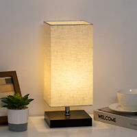 Table Lamp Bedside Desk Lamps with Square Flaxen Fabric Shade for Bedroom Dorm