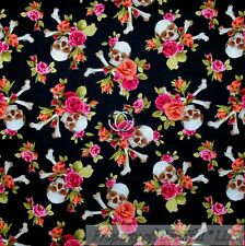BonEful Fabric FQ Cotton Quilt Red Black B&W SMALL Skull Harley Pink Rose Flower