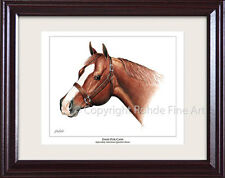 Dash For Cash - Framed American Quarter Horse Art Rohde equine painting Nice