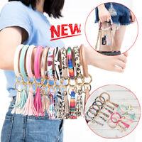 Key Ring Tassel Big Circle Leather Keychain Wristlet Bangle Bracelet Hot Gift US