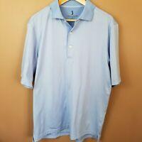 Mens Nicklaus Performance Blue Stripe Golf Short Sleeve Polo Shirt Med