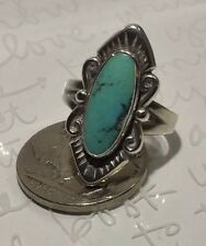 NAVAJO- BELL TRADING POST Bezel-set Oval Turquoise 925 Sterling RING Sz6 4.8g