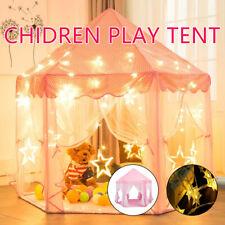 Kids Teepee Play Tent Princess Castle Pink Children House 3m Star Lights Indoor