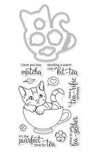 "Hero Arts Stamp & Cut ""KIT-TEA"" Cat Clear Stamps With Coordinating Dies Bundle"