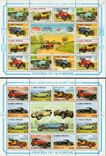 2 x 1983 St Thomas & Prince Car Stamp Sheets Mercedes-Benz/Rover/Morris/Renault