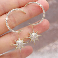 Fashion White Sapphire CZ Moon Star Dangle Earrings 925 Silver Wedding Jewelry
