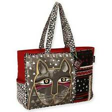 Whiskered Cat Laurel Burch Oversized Canvas Tote Bag