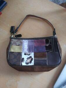 Coach purse purple/brown multicolor small