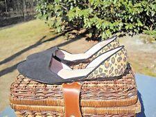 Betsey Johnson Black & Leopard Print Flats Shoes Size 10