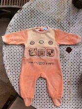 Pyjama / grenouillere T 3 mois orange toucher velours tout doux  theme chien TBE