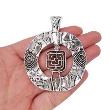 2 Tibetan Silver Large Circle Swirl Spiral Charms Pendants for Jewellery Making