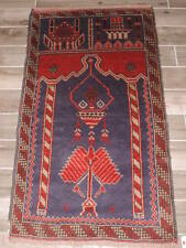 Handknotted Afghan Balouch Wool Prayer Rug 3x5ft.